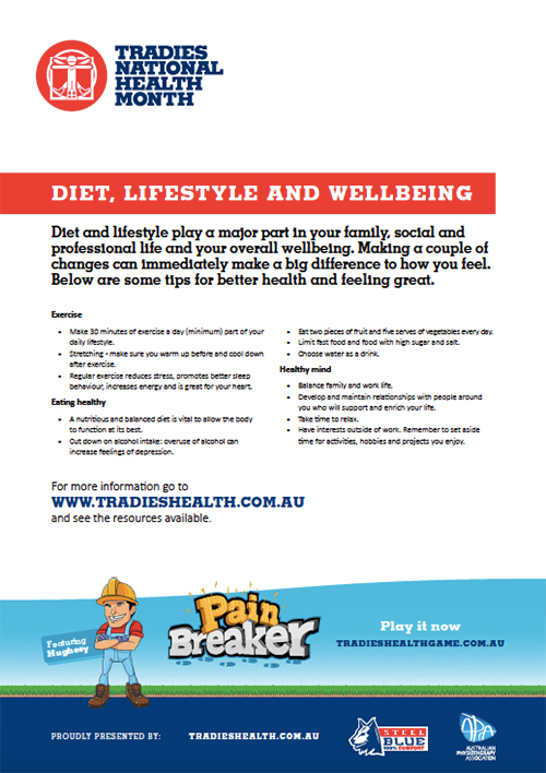 Tradies Diet, Lifestyle and Wellbeing Brochure